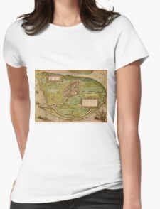 Brielle Vintage map.Geography Netherlands ,city view,building,political,Lithography,historical fashion,geo design,Cartography,Country,Science,history,urban Womens Fitted T-Shirt