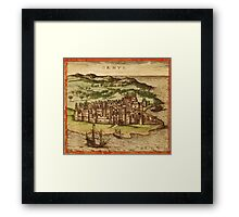 Hormus Vintage map.Geography Germany ,city view,building,political,Lithography,historical fashion,geo design,Cartography,Country,Science,history,urban Framed Print