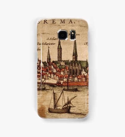 Bremen Vintage map.Geography Germany ,city view,building,political,Lithography,historical fashion,geo design,Cartography,Country,Science,history,urban Samsung Galaxy Case/Skin