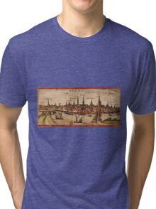 Bremen Vintage map.Geography Germany ,city view,building,political,Lithography,historical fashion,geo design,Cartography,Country,Science,history,urban Tri-blend T-Shirt