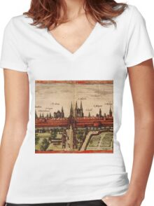 Braunschweig Vintage map.Geography Germany ,city view,building,political,Lithography,historical fashion,geo design,Cartography,Country,Science,history,urban Women's Fitted V-Neck T-Shirt