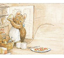 A cute mouse filling her larder by Beatrix Potter Photographic Print