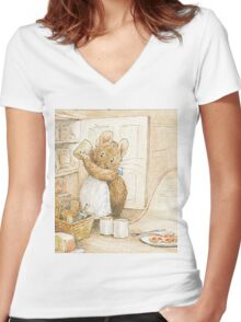A cute mouse filling her larder by Beatrix Potter Women's Fitted V-Neck T-Shirt