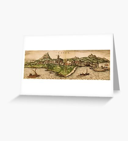 Iraklion Vintage map.Geography Greece ,city view,building,political,Lithography,historical fashion,geo design,Cartography,Country,Science,history,urban Greeting Card