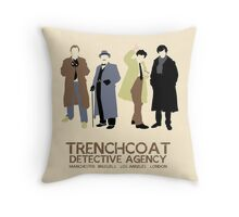 Trenchcoat Detective Agency Throw Pillow