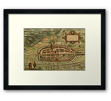 Kalkar Vintage map.Geography Germany ,city view,building,political,Lithography,historical fashion,geo design,Cartography,Country,Science,history,urban Framed Print