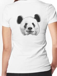 GIANT, PANDA, SMILEY, HAPPY, FACE, BEAR, WILDLIFE, ENDANGERED, Eco, Ecology, Nature Women's Fitted V-Neck T-Shirt