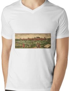 Bourges Vintage map.Geography France ,city view,building,political,Lithography,historical fashion,geo design,Cartography,Country,Science,history,urban Mens V-Neck T-Shirt