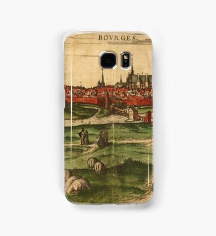 Bourges Vintage map.Geography France ,city view,building,political,Lithography,historical fashion,geo design,Cartography,Country,Science,history,urban Samsung Galaxy Case/Skin