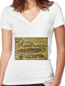 Bourbourg Vintage map.Geography France ,city view,building,political,Lithography,historical fashion,geo design,Cartography,Country,Science,history,urban Women's Fitted V-Neck T-Shirt