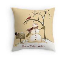 Snowman, Red Bird, Winter Tree, Snow Throw Pillow