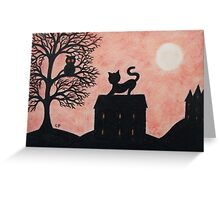 Cat on Roof: Cat and Owl Silhouette Greeting Card