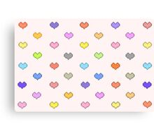 Pixel Candy Hearts Canvas Print