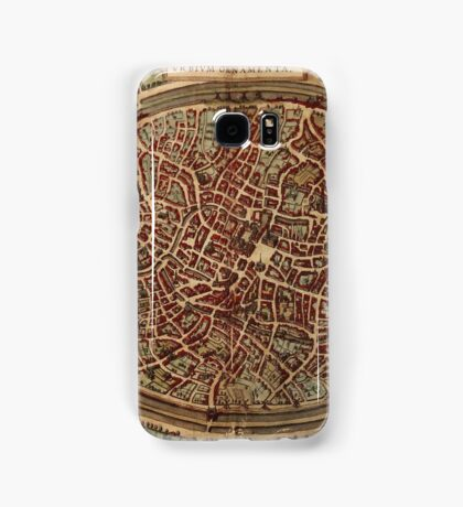 Brugge Vintage map.Geography Belgium ,city view,building,political,Lithography,historical fashion,geo design,Cartography,Country,Science,history,urban Samsung Galaxy Case/Skin