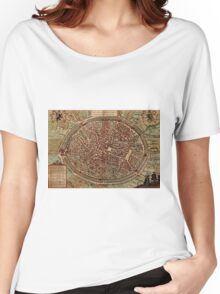 Brugge Vintage map.Geography Belgium ,city view,building,political,Lithography,historical fashion,geo design,Cartography,Country,Science,history,urban Women's Relaxed Fit T-Shirt