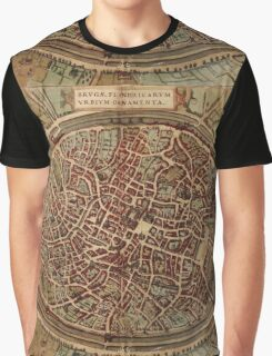 Brugge Vintage map.Geography Belgium ,city view,building,political,Lithography,historical fashion,geo design,Cartography,Country,Science,history,urban Graphic T-Shirt
