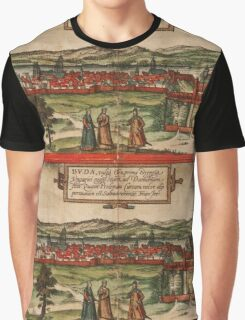 Budapest Vintage map.Geography Hungary ,city view,building,political,Lithography,historical fashion,geo design,Cartography,Country,Science,history,urban Graphic T-Shirt