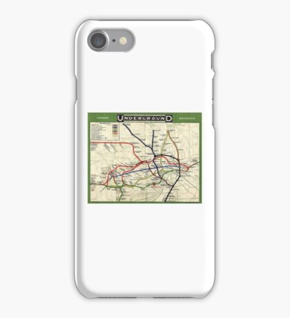 TUBE, UNDERGROUND, MAP, 1908, London, Historic, UK, GB, England, on WHITE iPhone Case/Skin