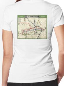 TUBE, UNDERGROUND, MAP, 1908, London, Historic, UK, GB, England, on Green Women's Fitted V-Neck T-Shirt