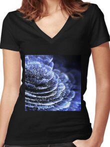 Blue Flower - Abstract Fractal Artwork Women's Fitted V-Neck T-Shirt