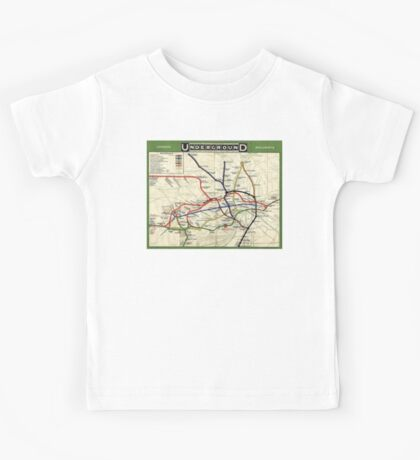 TUBE, UNDERGROUND, MAP, 1908, London, Historic, UK, GB, England, on WHITE Kids Tee