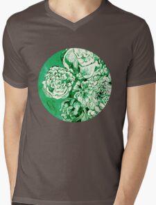 green ink flowers Mens V-Neck T-Shirt