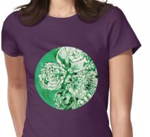 green ink flowers Womens Fitted T-Shirt