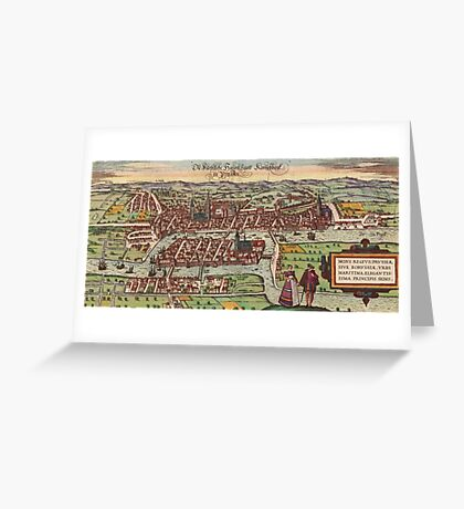 Konigsberg Vintage map.Geography Germany ,city view,building,political,Lithography,historical fashion,geo design,Cartography,Country,Science,history,urban Greeting Card