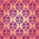 Pink and yellow damask pattern by netza