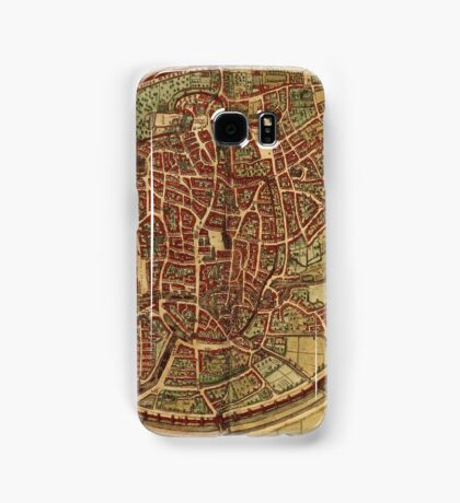 Brussels Vintage map.Geography Belgium ,city view,building,political,Lithography,historical fashion,geo design,Cartography,Country,Science,history,urban Samsung Galaxy Case/Skin