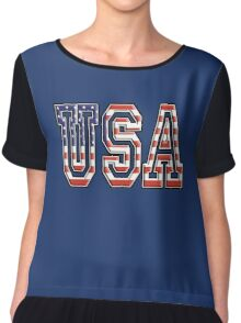 USA, United States of America, Flag, Patriot, America, American, US, on Navy, Blue Chiffon Top