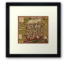 La Rochelle Vintage map.Geography France ,city view,building,political,Lithography,historical fashion,geo design,Cartography,Country,Science,history,urban Framed Print