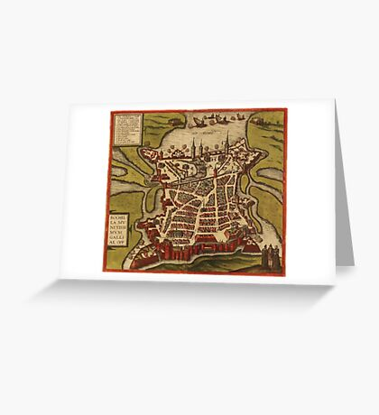 La Rochelle Vintage map.Geography France ,city view,building,political,Lithography,historical fashion,geo design,Cartography,Country,Science,history,urban Greeting Card