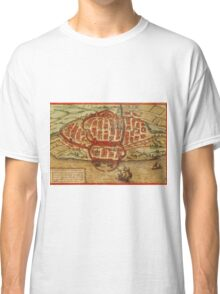 Cagliari Vintage map.Geography Italy ,city view,building,political,Lithography,historical fashion,geo design,Cartography,Country,Science,history,urban Classic T-Shirt