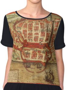 Cagliari Vintage map.Geography Italy ,city view,building,political,Lithography,historical fashion,geo design,Cartography,Country,Science,history,urban Chiffon Top