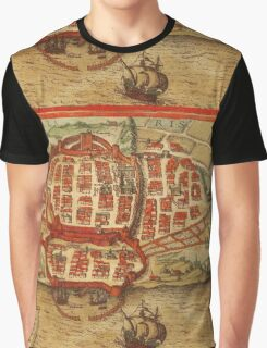 Cagliari Vintage map.Geography Italy ,city view,building,political,Lithography,historical fashion,geo design,Cartography,Country,Science,history,urban Graphic T-Shirt
