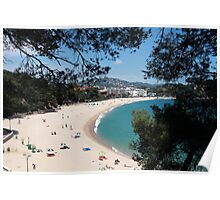 Beach on a hot day Aerial View Poster
