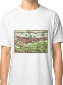Landskrona Vintage map.Geography Sweden ,city view,building,political,Lithography,historical fashion,geo design,Cartography,Country,Science,history,urban Classic T-Shirt