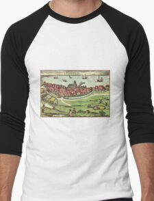 Landskrona Vintage map.Geography Sweden ,city view,building,political,Lithography,historical fashion,geo design,Cartography,Country,Science,history,urban Men's Baseball ¾ T-Shirt
