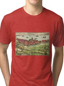 Landskrona Vintage map.Geography Sweden ,city view,building,political,Lithography,historical fashion,geo design,Cartography,Country,Science,history,urban Tri-blend T-Shirt