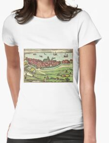 Landskrona Vintage map.Geography Sweden ,city view,building,political,Lithography,historical fashion,geo design,Cartography,Country,Science,history,urban Womens Fitted T-Shirt