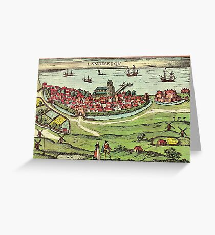 Landskrona Vintage map.Geography Sweden ,city view,building,political,Lithography,historical fashion,geo design,Cartography,Country,Science,history,urban Greeting Card