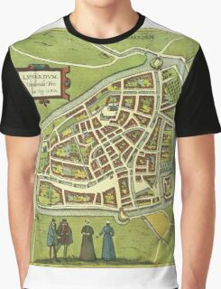 Leeuwaerden Vintage map.Geography Netherlands ,city view,building,political,Lithography,historical fashion,geo design,Cartography,Country,Science,history,urban Graphic T-Shirt
