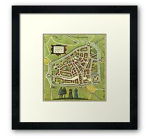 Leeuwaerden Vintage map.Geography Netherlands ,city view,building,political,Lithography,historical fashion,geo design,Cartography,Country,Science,history,urban Framed Print