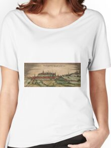 Freising Vintage map.Geography Germany ,city view,building,political,Lithography,historical fashion,geo design,Cartography,Country,Science,history,urban Women's Relaxed Fit T-Shirt