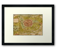 Leiden Vintage map.Geography Netherlands ,city view,building,political,Lithography,historical fashion,geo design,Cartography,Country,Science,history,urban Framed Print