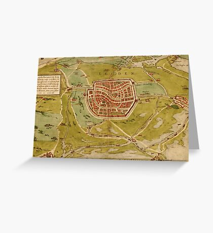 Leiden Vintage map.Geography Netherlands ,city view,building,political,Lithography,historical fashion,geo design,Cartography,Country,Science,history,urban Greeting Card