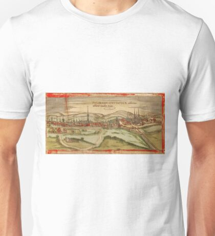 Fulda Vintage map.Geography Germany ,city view,building,political,Lithography,historical fashion,geo design,Cartography,Country,Science,history,urban Unisex T-Shirt