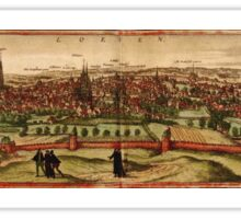 Leuven Vintage map.Geography Belgium ,city view,building,political,Lithography,historical fashion,geo design,Cartography,Country,Science,history,urban Sticker