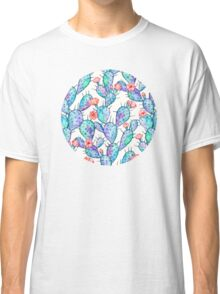 Rainbow Watercolor Cactus Pattern Classic T-Shirt